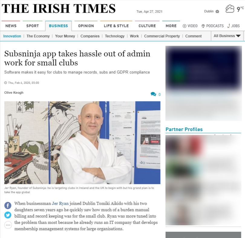 irish times article on SUBSNINJA.COM